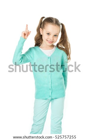 Cute little girl in the studio. Isolated on white. Sales