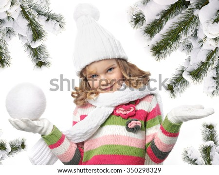 cute little girl in warm clothes on white background christmas tree covered with snow - stock photo