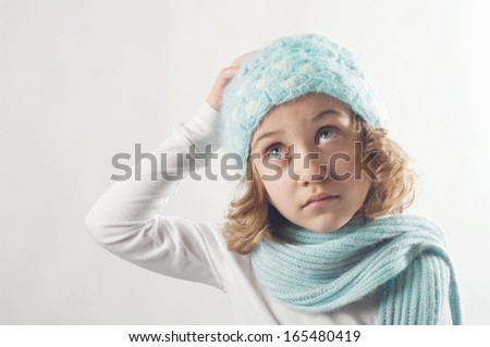 cute little girl in warm hat
