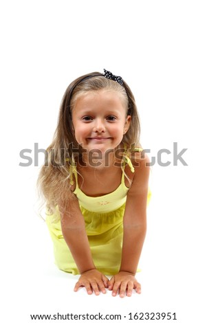 Cute little girl isolated on a white background.
