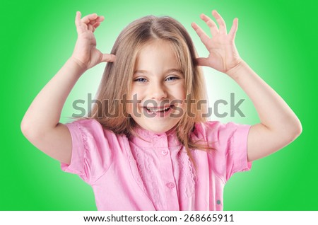 Cute little girl isolated on the white - stock photo