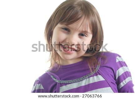 cute little girl isolated on the white background