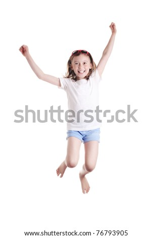 cute little girl jumping on white background