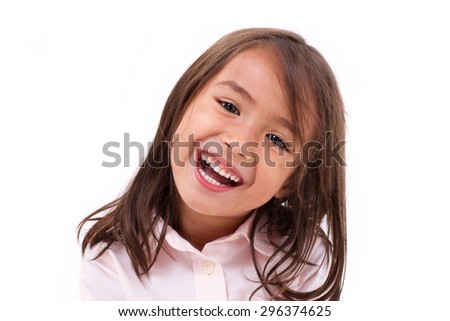 cute little girl laughing - stock photo