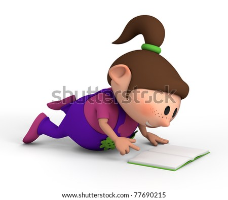 cute little girl lying on the floor reading a book - high quality 3d illustration - stock photo