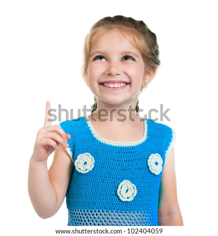 Cute little girl on a white background - stock photo
