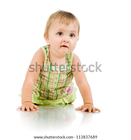 Cute little girl on a white background