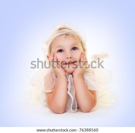 cute little girl on blue - stock photo