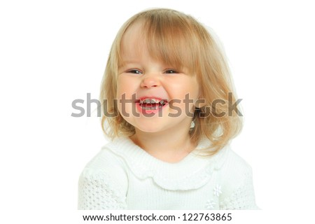 cute little girl on white background - stock photo