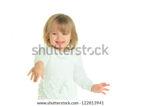 cute little girl on white background