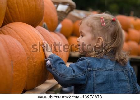 Cute little girl picking halloween pumpkin at farmer's market - stock photo