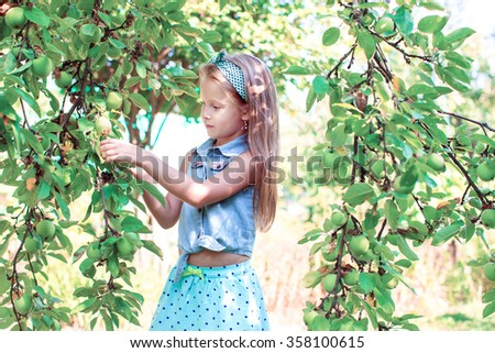 Cute little girl picking up apples in garden outdoors - stock photo
