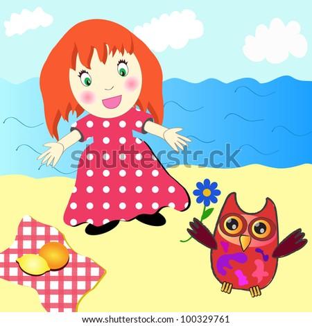 Cute little girl picnic on the beach - stock photo