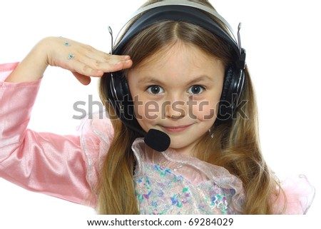 cute little girl playing the operator isolated on white - stock photo