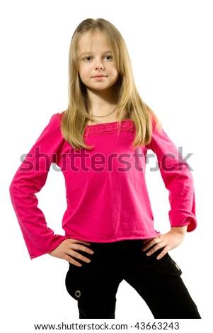 Cute little girl portrait over white - stock photo