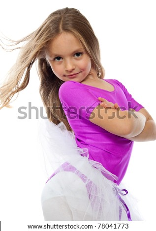 cute little girl posing after training, isolated on white - stock photo