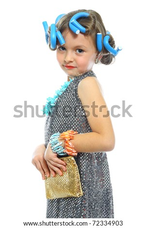 cute little girl posing in a nice dress isolated on white - stock photo