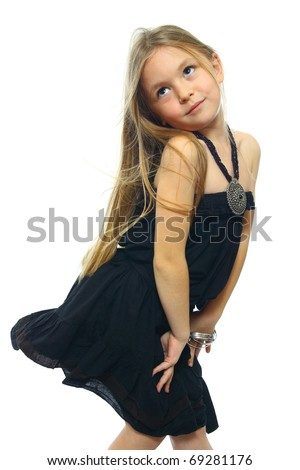cute little girl posing isolated on white` - stock photo