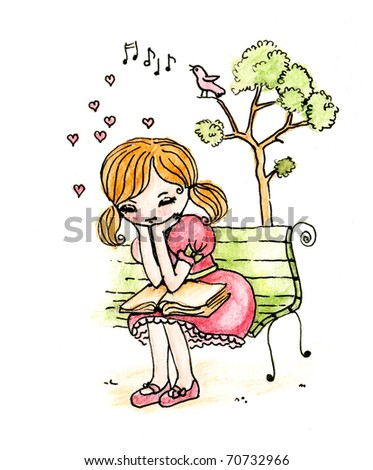 cute little girl reading on a bench near a tree and hearts - stock photo