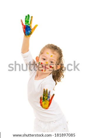 Cute little girl showing hands in paints solated on white background