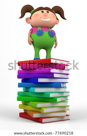 cute little girl standing on top of a stack of books - high quality 3d illustration - stock photo