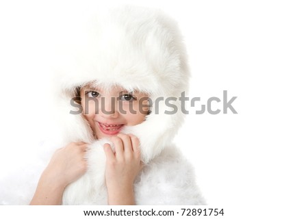 cute little girl wearing a white fur coat and hat isolated on white background - stock photo