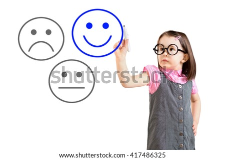 Cute little girl wearing business dress and select happy on satisfaction evaluation. White background.  - stock photo
