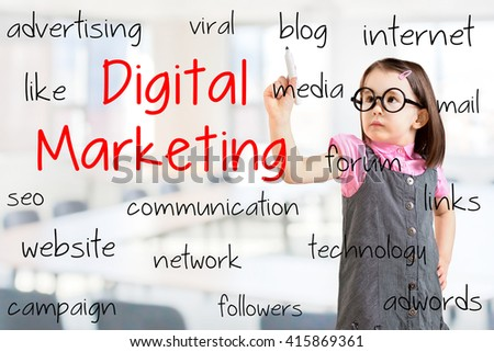 Cute little girl wearing business dress and writing digital marketing concept. Office background. - stock photo