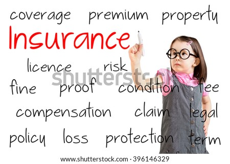 Cute little girl wearing business dress and writing insurance concept. White background. - stock photo