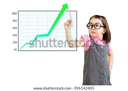 Cute little girl wearing business dress and writing over achievement graph. White background.