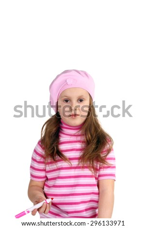 cute little girl with a feltpen in her hand - stock photo