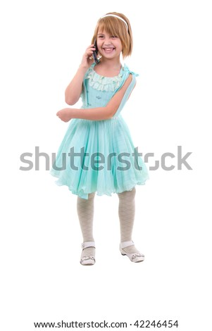 Cute Little Girl With A Phone. Studio Shoot Over White Background.