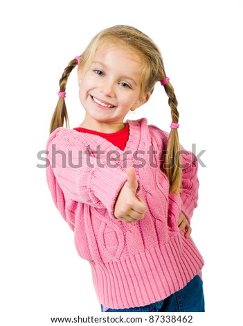 Cute little girl with a plaits on a white background close-up - stock photo
