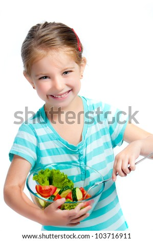 cute little girl with a plate of salad, isolayed on white - stock photo