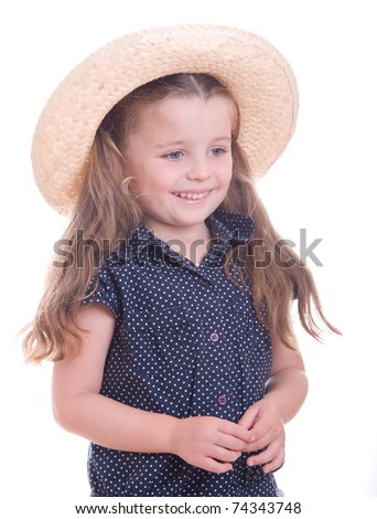 Cute little girl with big straw hat, isolated on white background - stock photo