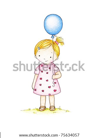 cute little girl with blue balloon - stock photo