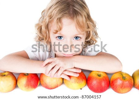 cute little girl with bunch of apples isolated on white - stock photo