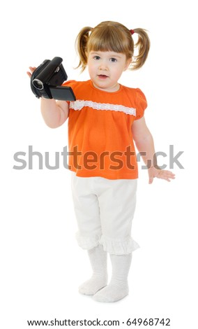 Cute little girl with camcorder isolated - stock photo