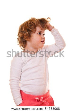 cute little girl with curly hair on white background - stock photo