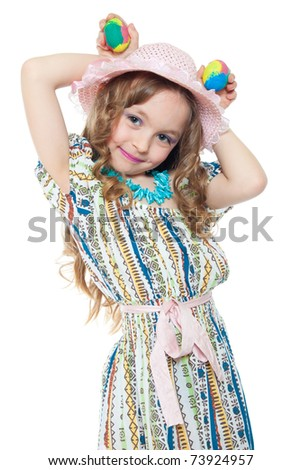 cute little girl with easter eggs isolated on white - stock photo