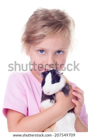 Cute little girl with  guinea pig in his hands, isolated on white - stock photo