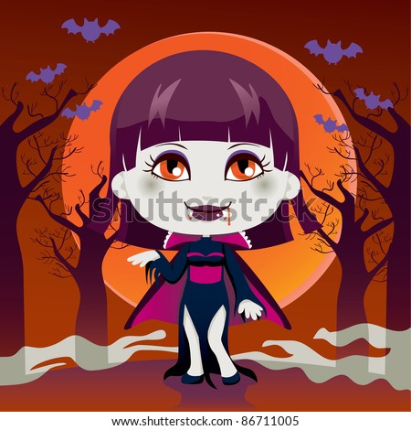 Cute little girl with Lady Dracula vampire costume for Halloween night party - stock photo