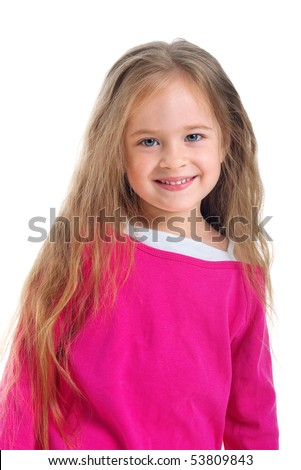 Cute little girl with long hair on a white background close-up - stock photo