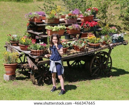 cute little girl with many pots of flowers in the meadow in the mountains
