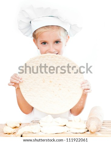 cute little girl with pizza dough on white background - stock photo