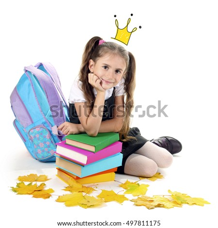 Cute little girl with princess crown drawing above head and books on white background.