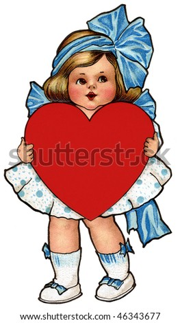 Cute little girl with ribbons and bows, holding a red heart - vintage Valentine illustration