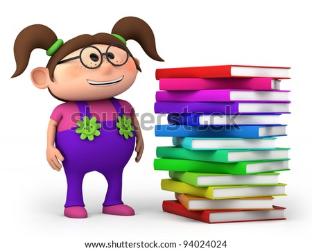 cute little girl with stack of books - high quality 3d illustration - stock photo