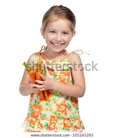 Cute little girl  with the carrot on a white background - stock photo