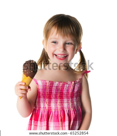 cute little girl with the ice-cream on a white background - stock photo